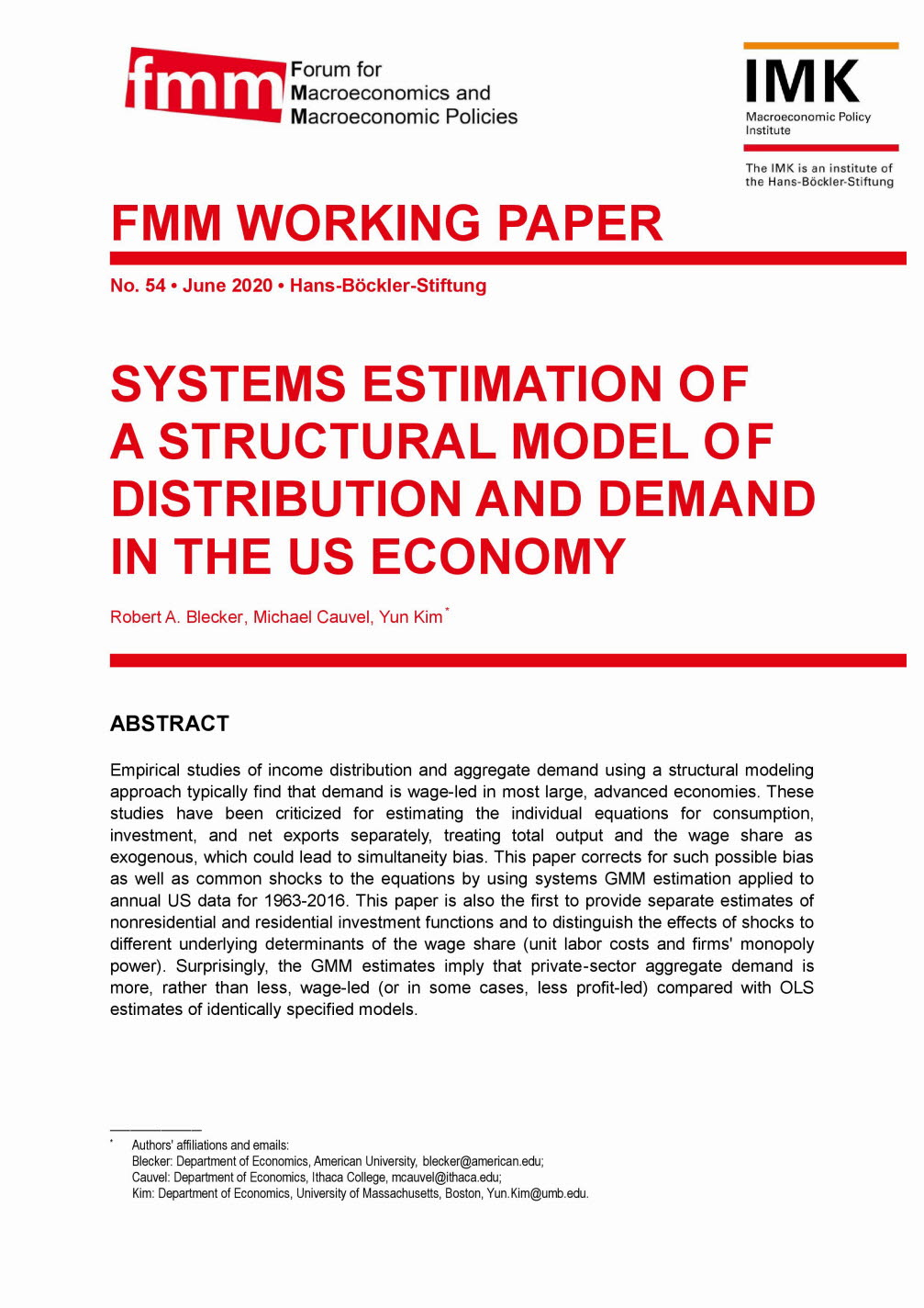 Systems estimation of a structural model of distribution and demand in the US economy